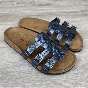 Birkis by Birkenstock Xenia Gray 3-Strap Sandals 7